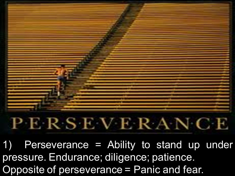 1) Perseverance = Ability to stand up under pressure.