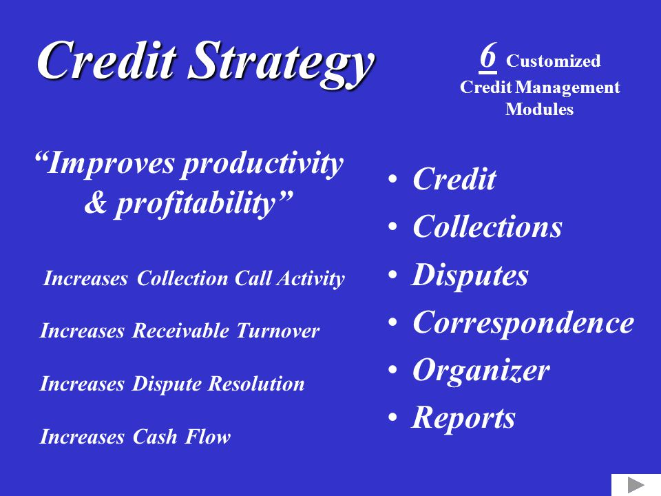 "Credit Strategy Credit Collections Disputes Correspondence Organizer Reports 6 Customized Credit Management Modules ""Improves productivity & profitabi"