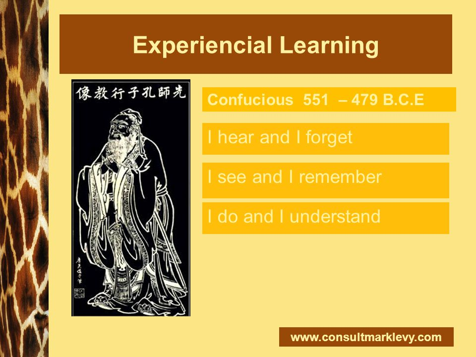 Experiencial Learning I hear and I forget Confucious 551 – 479 B.C.E I see and I remember I do and I understand
