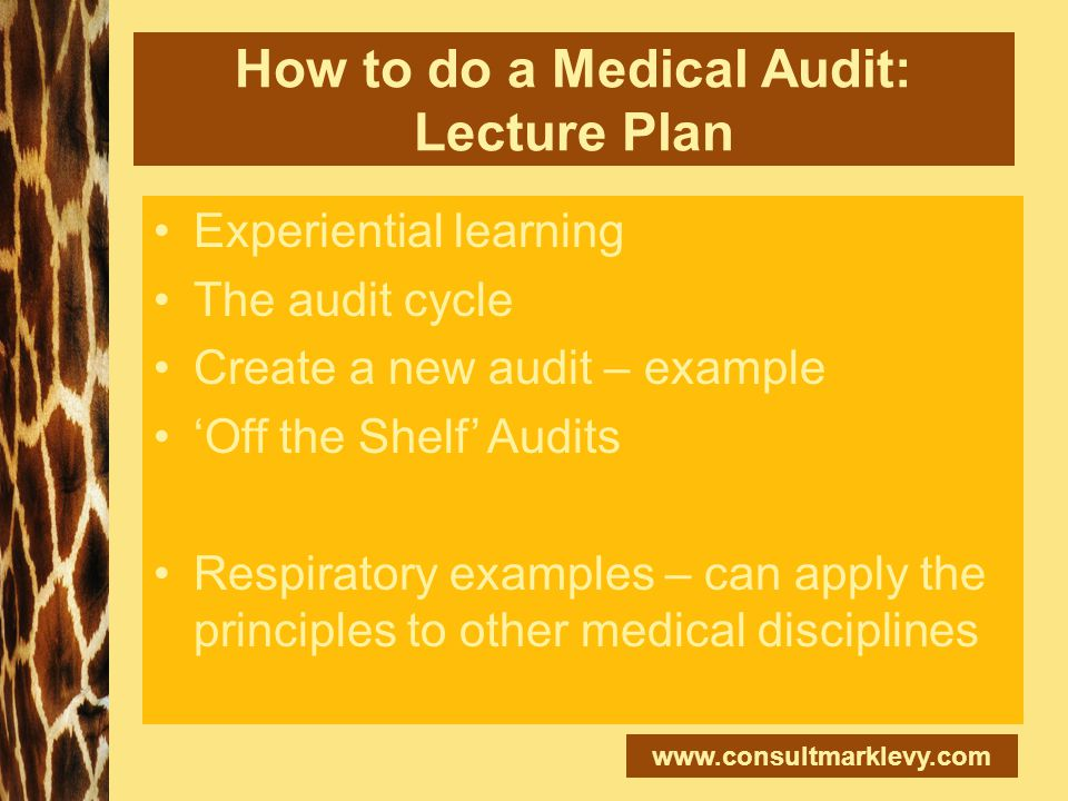 www.consultmarklevy.com How to do a Medical Audit: Lecture Plan Experiential learning The audit cycle Create a new audit – example 'Off the Shelf' Aud