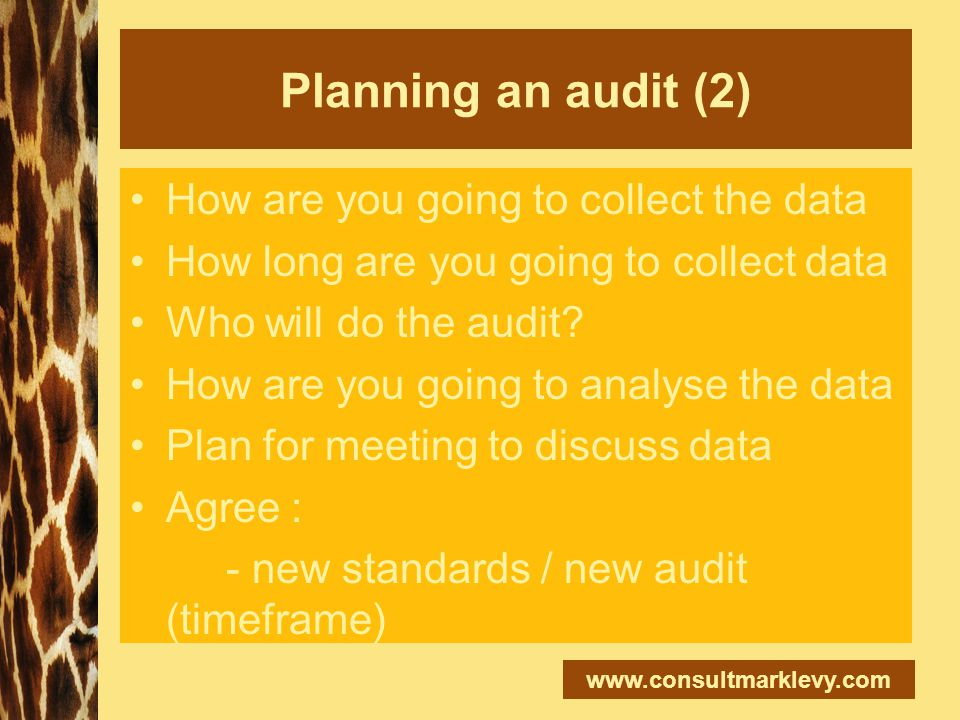 www.consultmarklevy.com Planning an audit (2) How are you going to collect the data How long are you going to collect data Who will do the audit? How