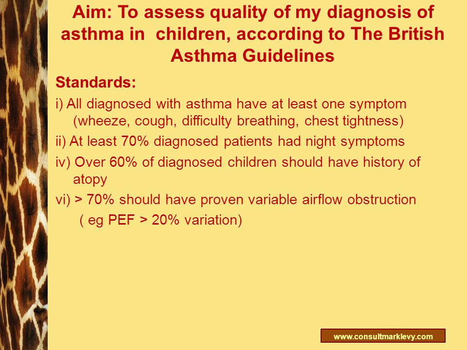 www.consultmarklevy.com Aim: To assess quality of my diagnosis of asthma in children, according to The British Asthma Guidelines Standards: i) All dia