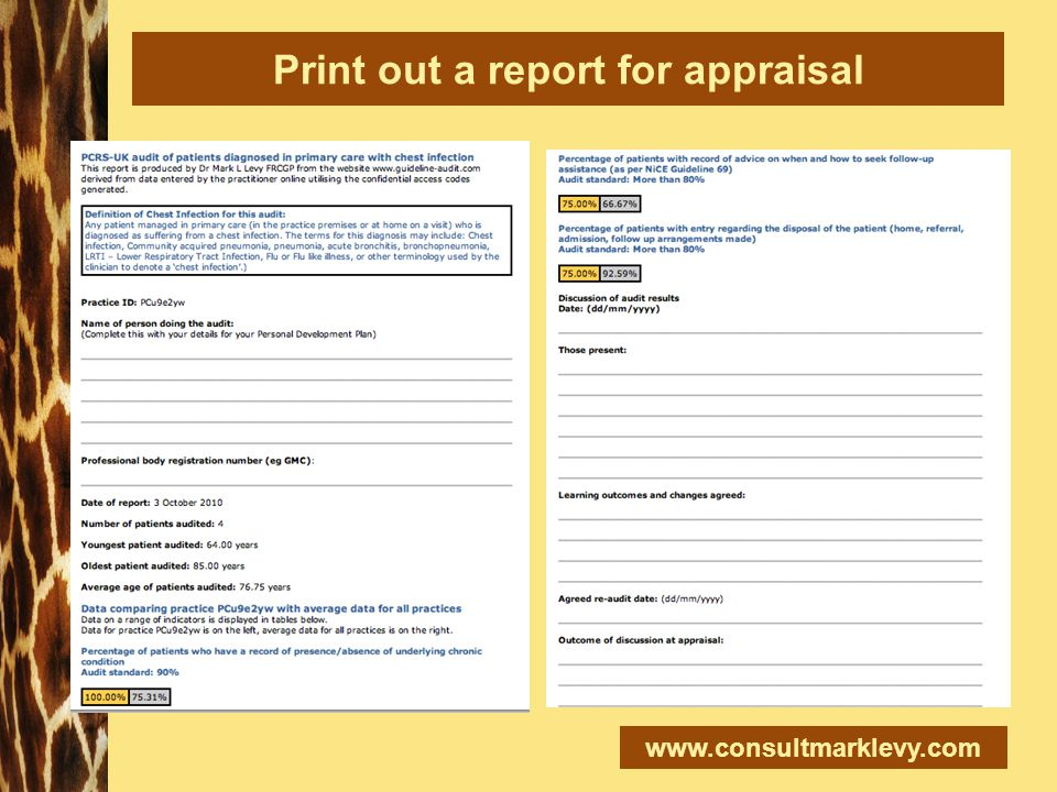 www.consultmarklevy.com Print out a report for appraisal