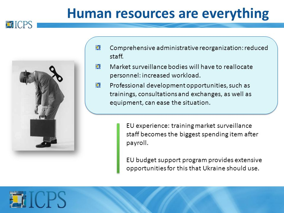 Human resources are everything EU experience: training market surveillance staff becomes the biggest spending item after payroll. EU budget support pr