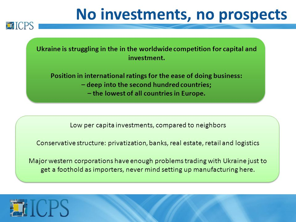 No investments, no prospects Ukraine is struggling in the in the worldwide competition for capital and investment. Position in international ratings f