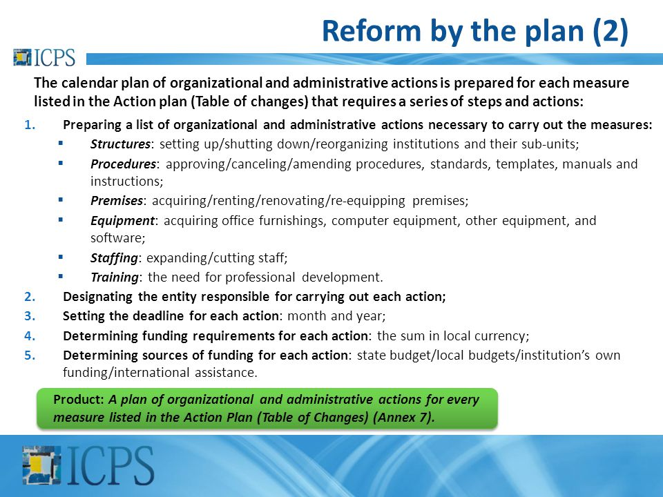 Reform by the plan (2) 1.Preparing a list of organizational and administrative actions necessary to carry out the measures:  Structures: setting up/s