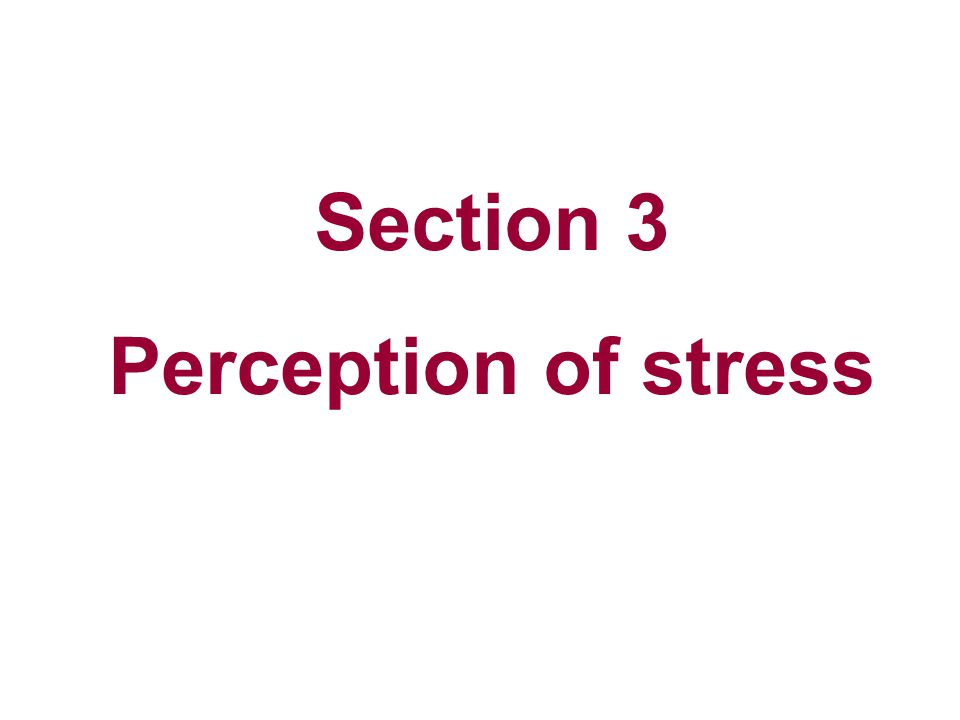 Section 3 Perception of stress