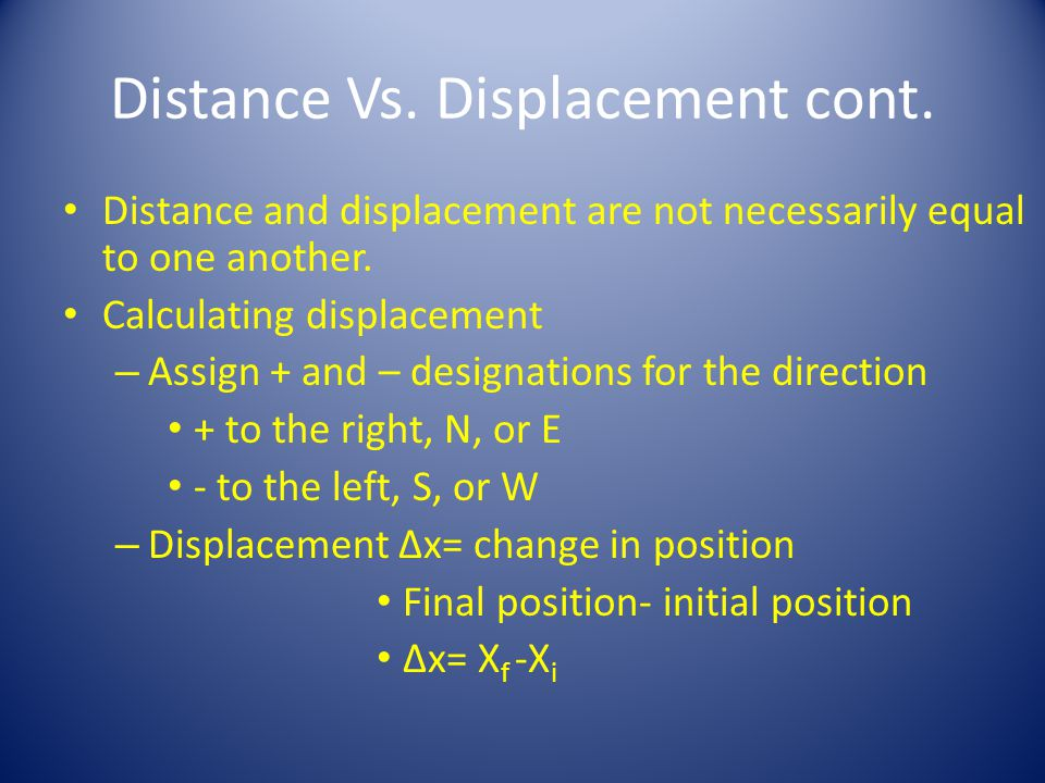 Distance vs.Displacement You drive the path, and your odometer goes up by 8 miles (your distance).