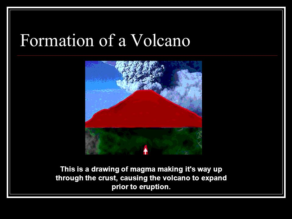 Formation of a Volcano This is a drawing of magma making it s way up through the crust, causing the volcano to expand prior to eruption.