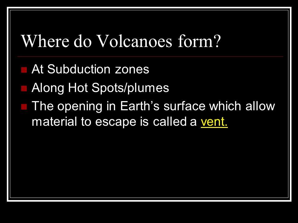 Where do Volcanoes form.
