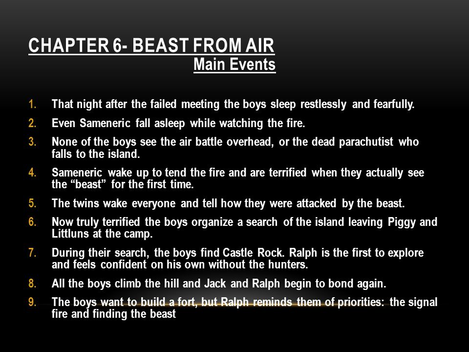CHAPTER 6- BEAST FROM AIR Main Events 1.That night after the failed meeting the boys sleep restlessly and fearfully. 2.Even Sameneric fall asleep whil