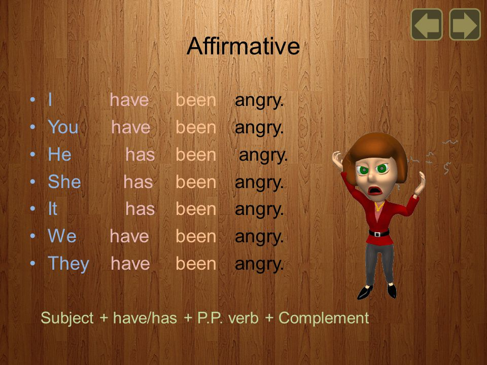 Affirmative I have been angry. You have been angry.