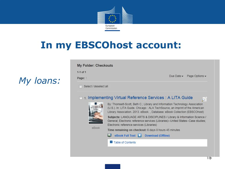 In my EBSCOhost account: My loans: 15