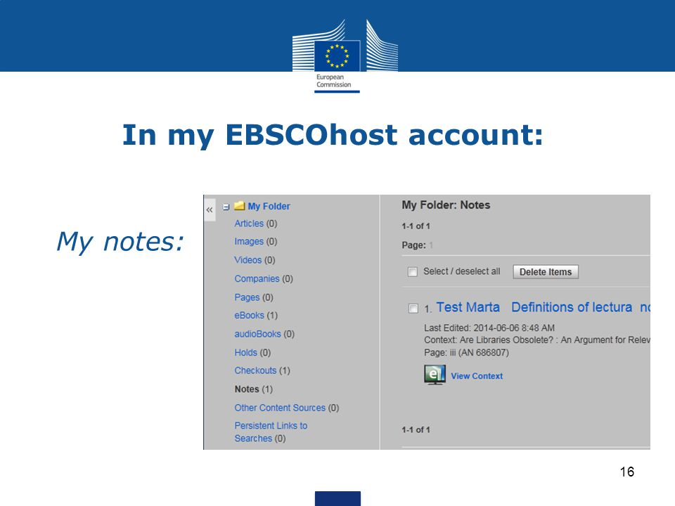 In my EBSCOhost account: My notes: 16