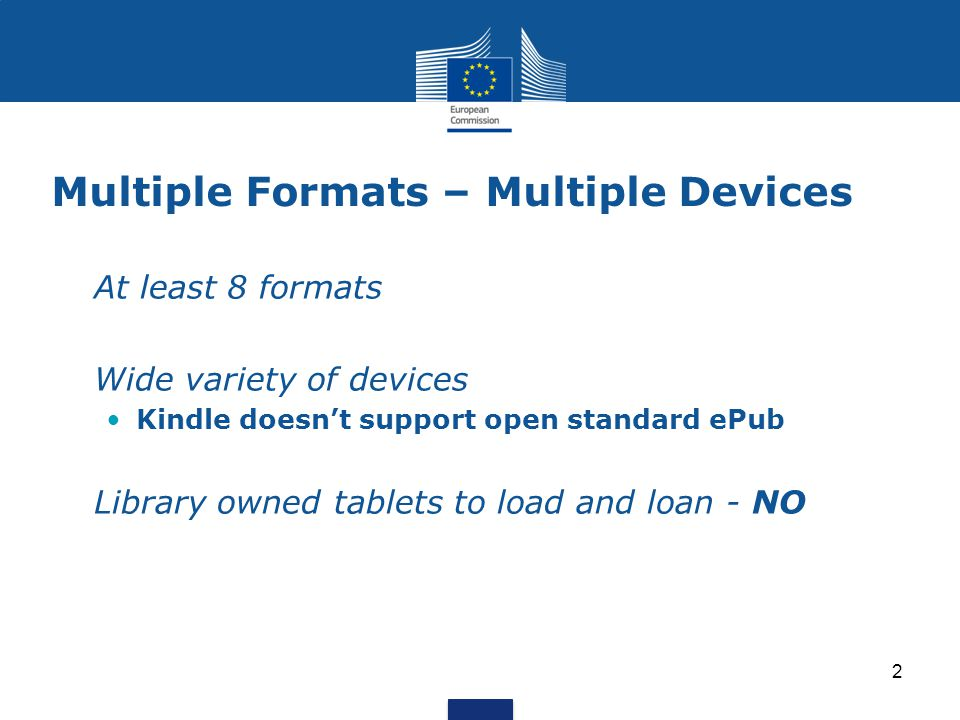 Multiple Formats – Multiple Devices At least 8 formats Wide variety of devices Kindle doesn't support open standard ePub Library owned tablets to load
