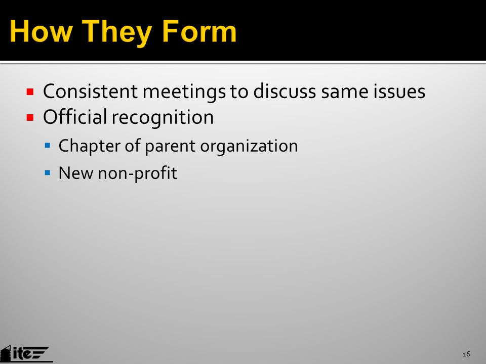  Consistent meetings to discuss same issues  Official recognition  Chapter of parent organization  New non-profit 16
