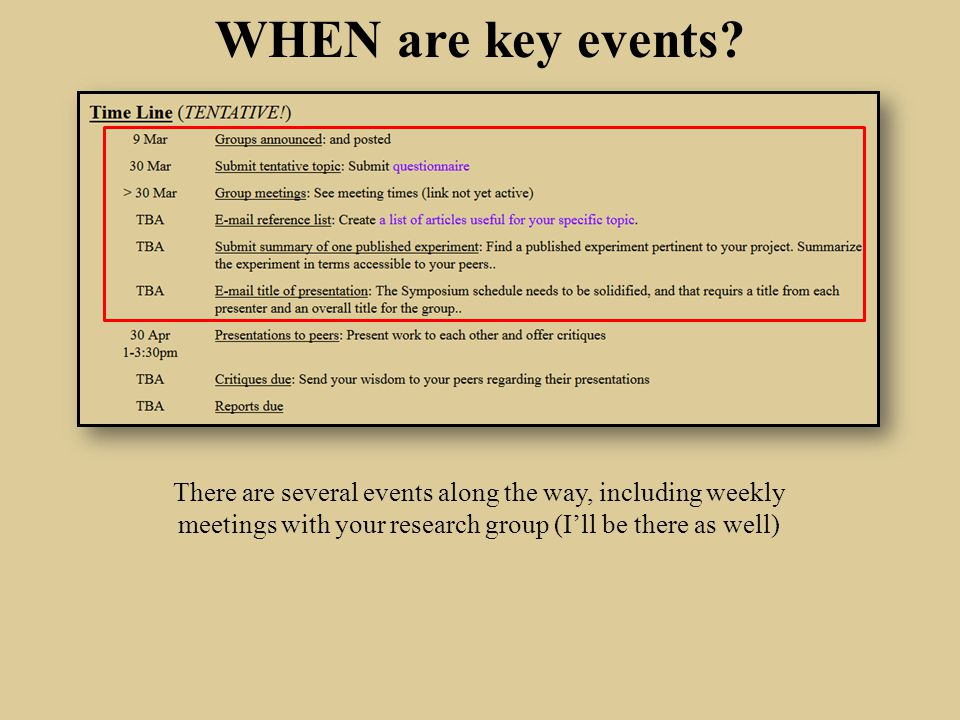 WHEN are key events.