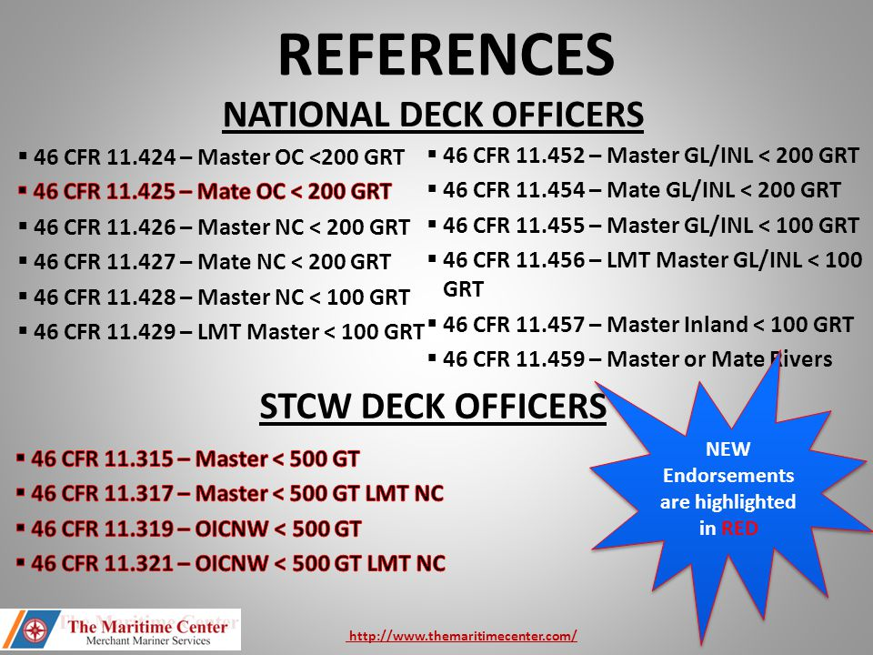 REFERENCES STCW DECK OFFICERS NATIONAL DECK OFFICERS  46 CFR 11.452 – Master GL/INL < 200 GRT  46 CFR 11.454 – Mate GL/INL < 200 GRT  46 CFR 11.455