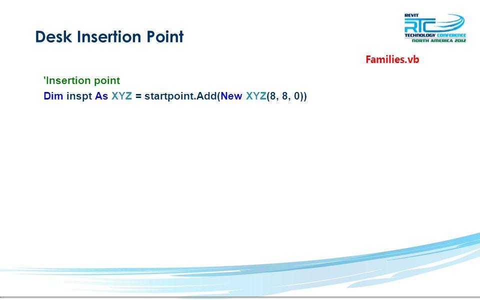 Desk Insertion Point Insertion point Dim inspt As XYZ = startpoint.Add(New XYZ(8, 8, 0)) Families.vb