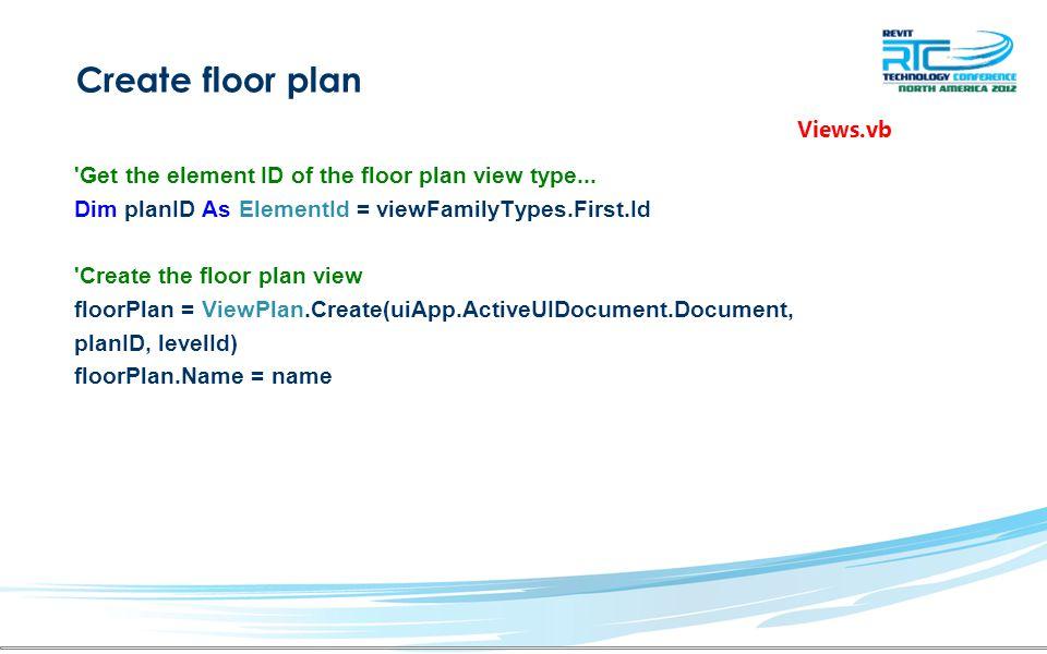 Create floor plan Get the element ID of the floor plan view type...