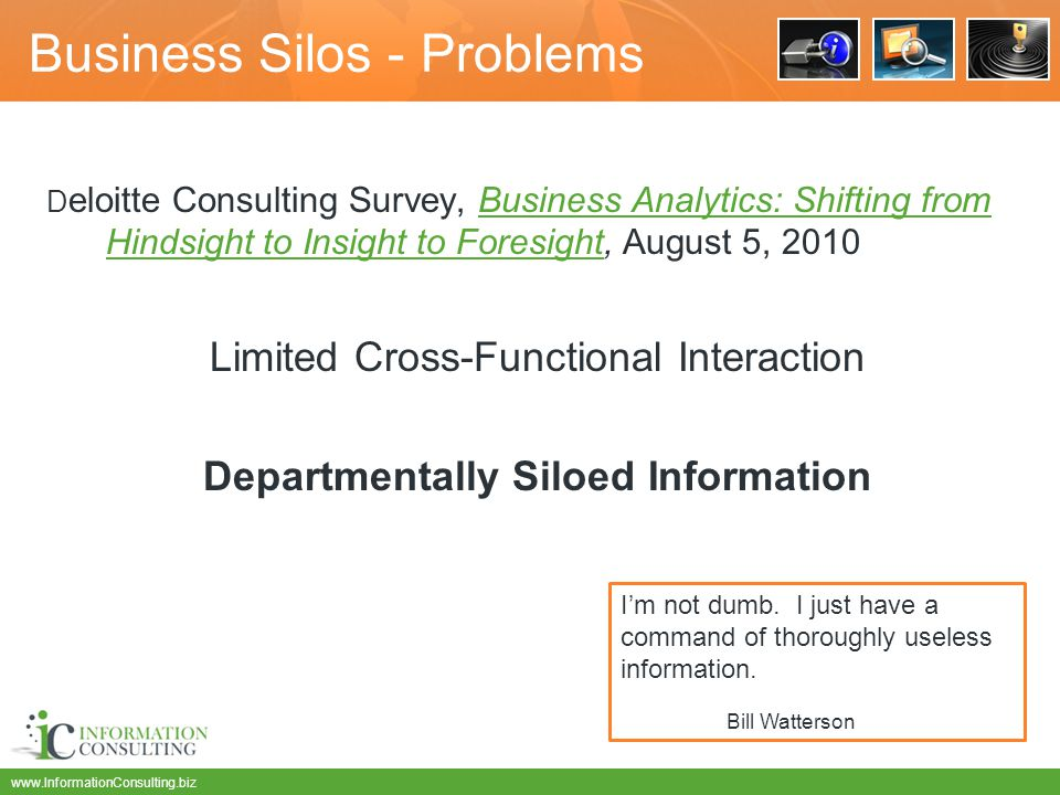 www.InformationConsulting.biz Business Silos - Problems D eloitte Consulting Survey, Business Analytics: Shifting from Hindsight to Insight to Foresight, August 5, 2010Business Analytics: Shifting from Hindsight to Insight to Foresight Limited Cross-Functional Interaction Departmentally Siloed Information I'm not dumb.