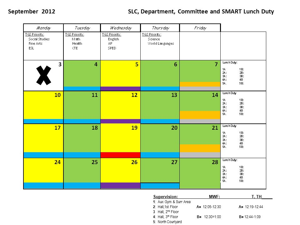 September 2012SLC, Department, Committee and SMART Lunch Duty Supervision: MWF: T, TH_____ 1 : Aux Gym & Surr Area 2 : Hall,1st Floor A= 12:05-12:30 A= 12:19-12:44 3 Hall, 2 nd Floor 4 : Hall, 3 rd Floor B= 12:30=1:00 B= 12:44-1:09 5 : North Courtyard