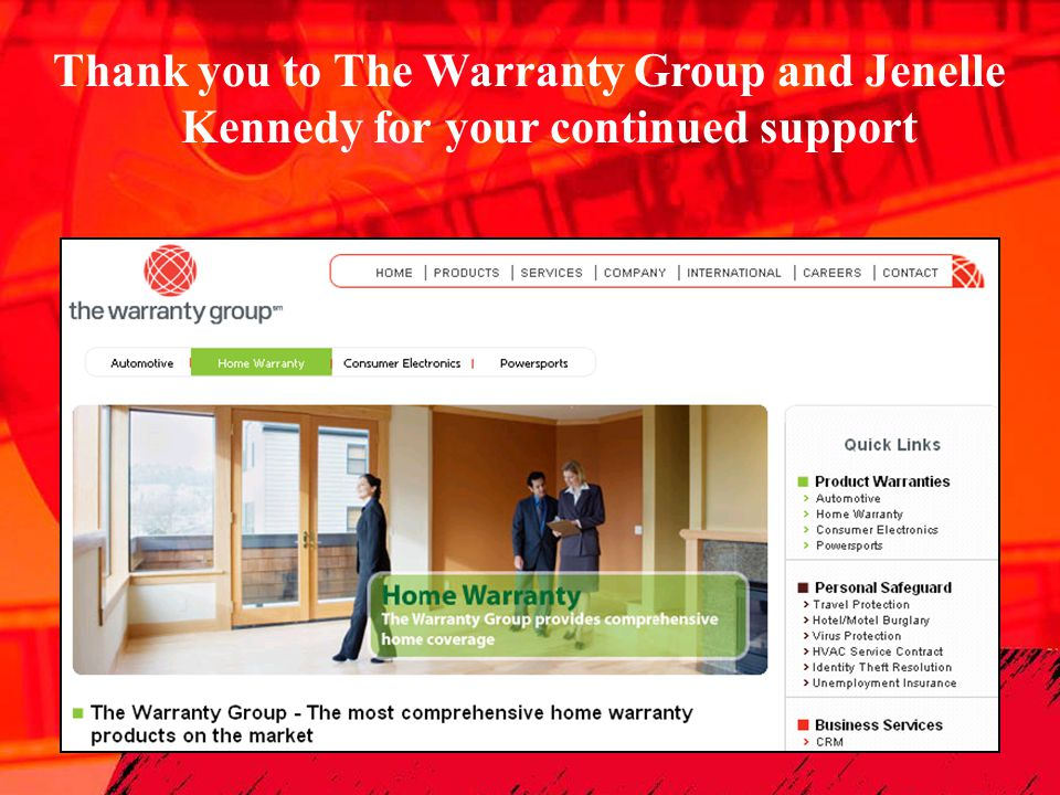 Thank you to The Warranty Group and Jenelle Kennedy for your continued support