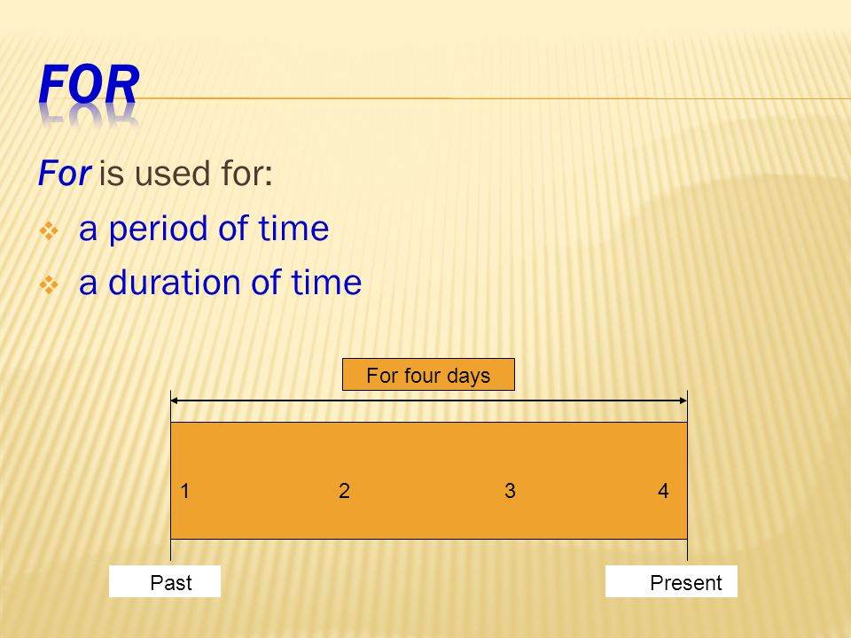 For is used for:  a period of time  a duration of time 1 2 3 4 For four days Present Past