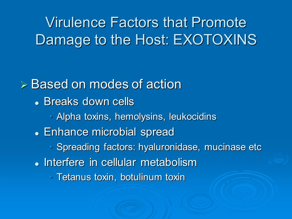  3 ways this can contribute to the progression of disease: Ingestion of preformed toxin Ingestion of preformed toxin Colonization of wound or mucosal surface followed by exotoxin production Colonization of wound or mucosal surface followed by exotoxin production Colonization of wound followed by local exotoxin production Colonization of wound followed by local exotoxin production Virulence Factors that Promote Damage to the Host: EXOTOXINS