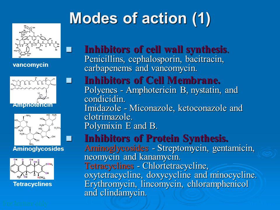 Modes of action (2) Inhibitors of metabolites (Antimetabolites).