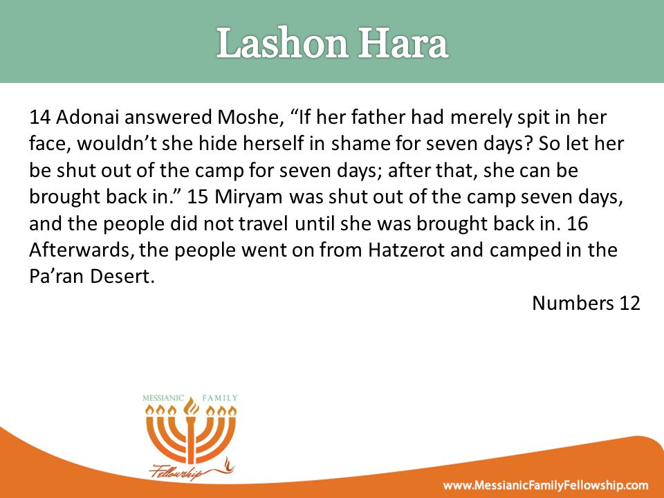 14 Adonai answered Moshe, If her father had merely spit in her face, wouldn't she hide herself in shame for seven days.