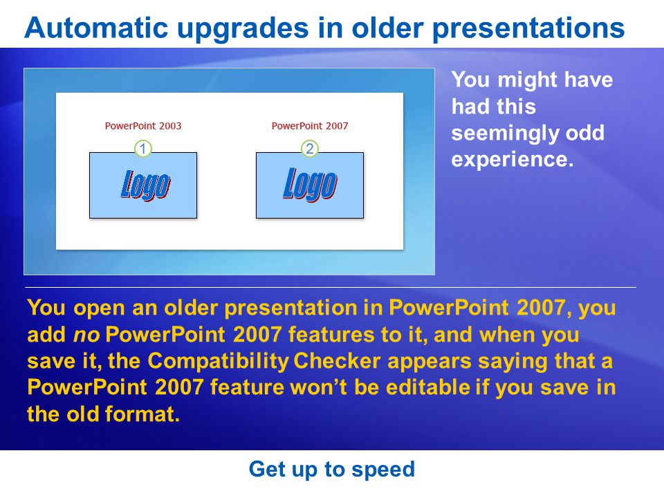 Get up to speed Automatic upgrades in older presentations You might have had this seemingly odd experience.