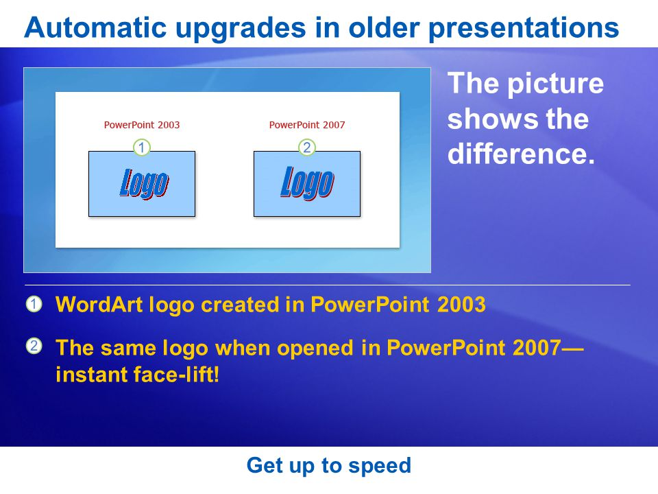 Get up to speed Automatic upgrades in older presentations The picture shows the difference.