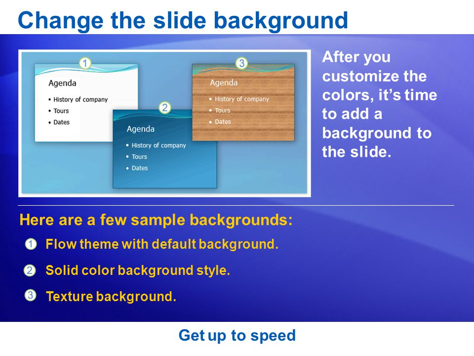 Change the slide background After you customize the colors, it's time to add a background to the slide.