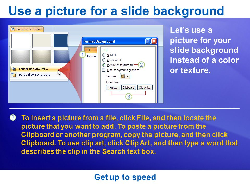 To insert a picture from a file, click File, and then locate the picture that you want to add.