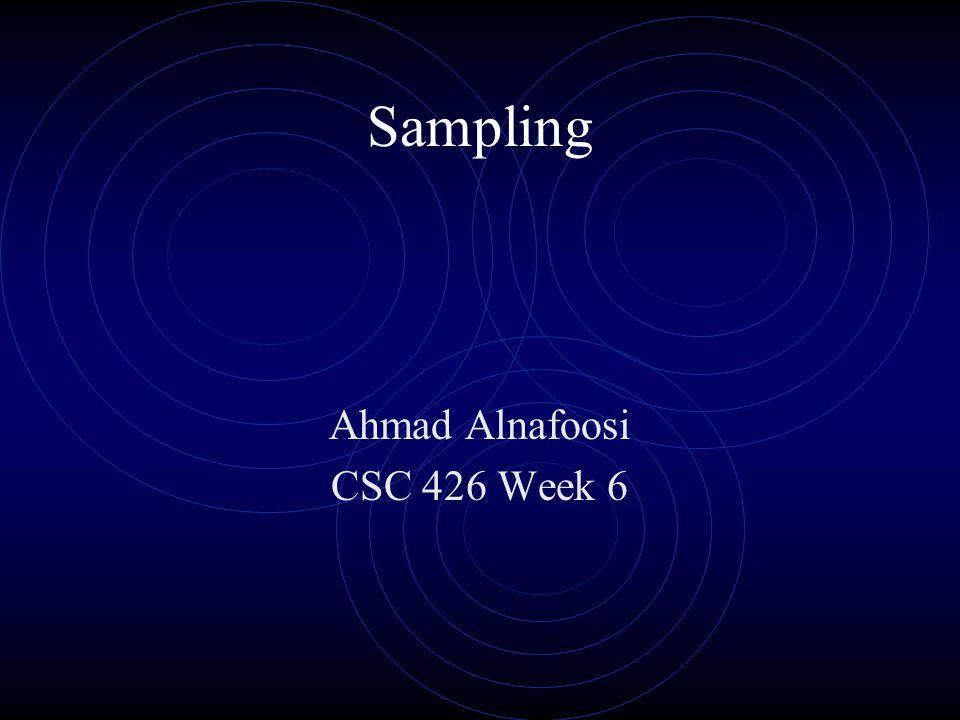 Sampling Ahmad Alnafoosi CSC 426 Week 6