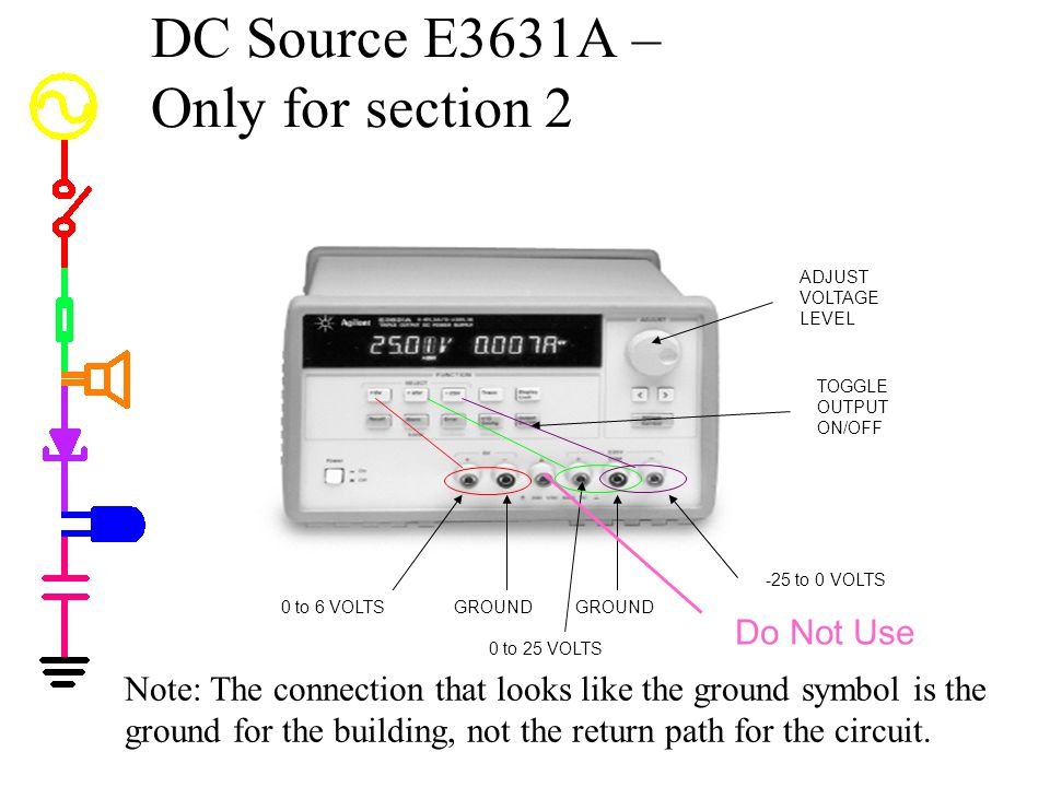 DC Source E3631A – Only for section 2 TOGGLE OUTPUT ON/OFF ADJUST VOLTAGE LEVEL 0 to 6 VOLTSGROUND 0 to 25 VOLTS -25 to 0 VOLTS Do Not Use Note: The c