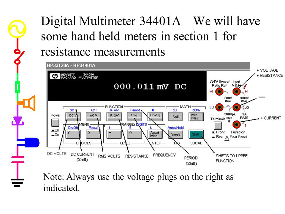 Digital Multimeter 34401A – We will have some hand held meters in section 1 for resistance measurements Note: Always use the voltage plugs on the righ