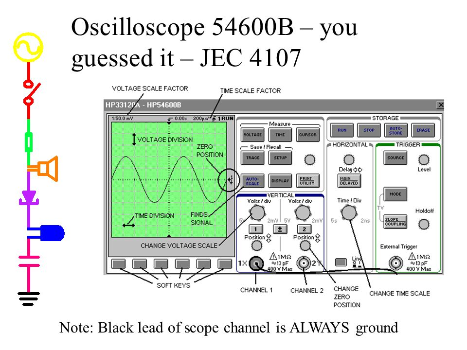 Oscilloscope 54600B – you guessed it – JEC 4107 Note: Black lead of scope channel is ALWAYS ground
