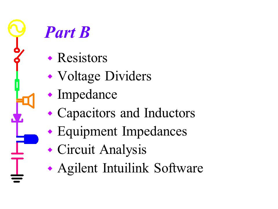 Part B w Resistors w Voltage Dividers w Impedance w Capacitors and Inductors w Equipment Impedances w Circuit Analysis w Agilent Intuilink Software