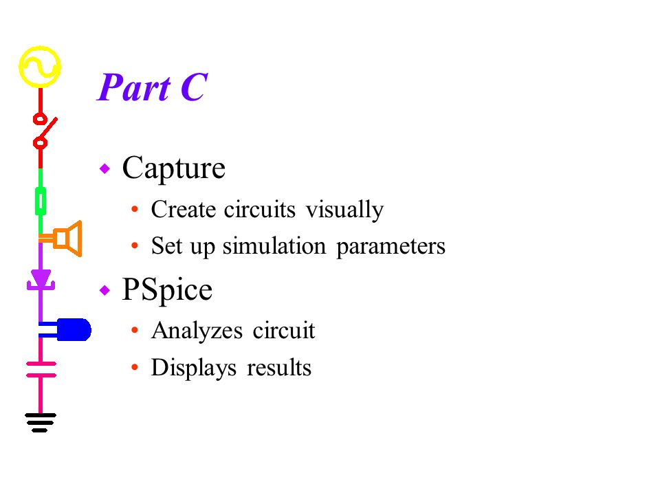 Part C w Capture Create circuits visually Set up simulation parameters w PSpice Analyzes circuit Displays results