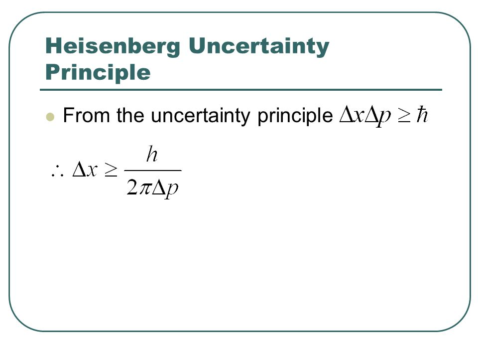 Heisenberg Uncertainty Principle From the uncertainty principle