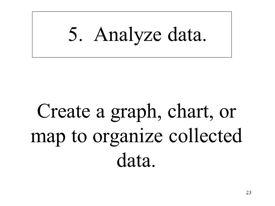 23 5. Analyze data. Create a graph, chart, or map to organize collected data.