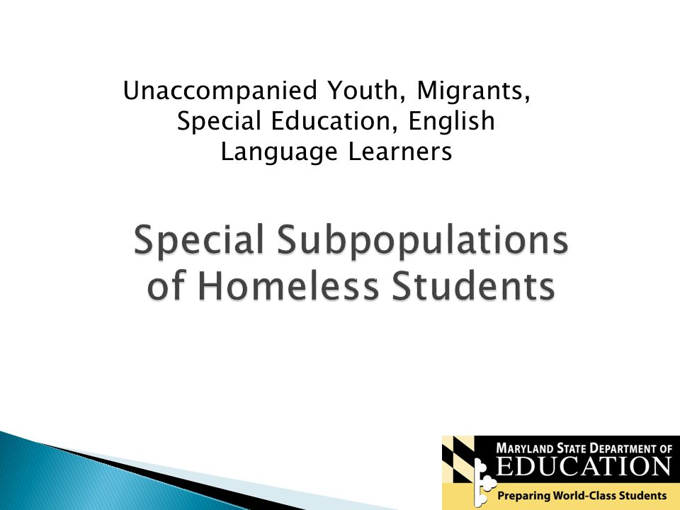 15 Special Subpopulations of Homeless Students Unaccompanied Youth, Migrants, Special Education, English Language Learners