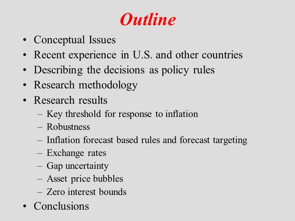 Inflation forecast targeting Set i t so that E t  t+j equals  * or approaches it gradually over the time Much less formal research on this procedure –not a rule –hard to simulate Woodford's Jackson Hole comment But in practice there is a role for forecasting –Both inflation and real GDP growth –Forecasting model at central bank needs to imbed threshold result –Inflation Reports as in U.K.