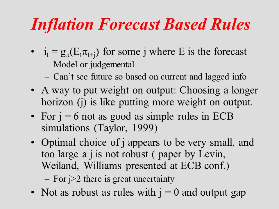 Inflation Forecast Based Rules i t = g  (E t  t+j ) for some j where E is the forecast –Model or judgemental –Can't see future so based on current a
