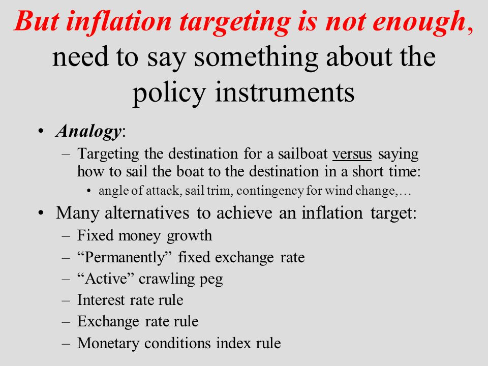 Put exchange rate in policy rule One approach: Place exchange rate into interest rate rule i t = g   t + g y y t + g e0 e t + g e1 e t-1 +  i t-1 where i t is the nominal interest rate,  t is the inflation rate (smoothed over four quarters), y t is the deviation of real GDP from potential GDP, e t is the exchange rate (higher e is an appreciation).