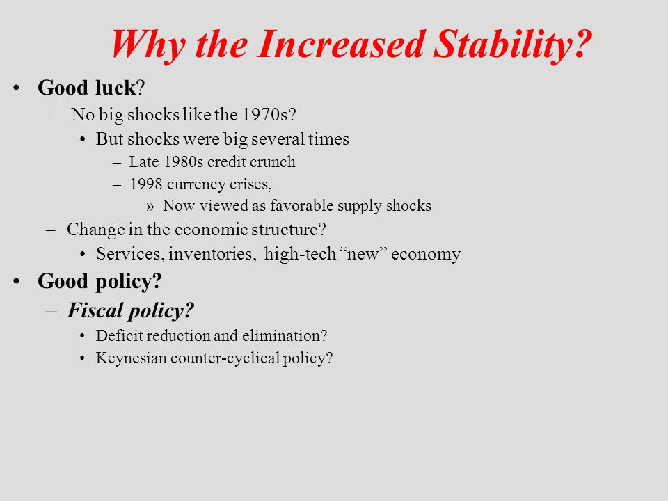 Why the Increased Stability? Good luck? – No big shocks like the 1970s? But shocks were big several times –Late 1980s credit crunch –1998 currency cri