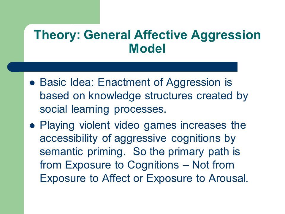 Theory: General Affective Aggression Model Basic Idea: Enactment of Aggression is based on knowledge structures created by social learning processes.