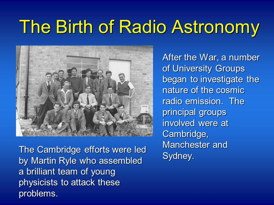 The Birth of Radio Astronomy After the War, a number of University Groups began to investigate the nature of the cosmic radio emission.